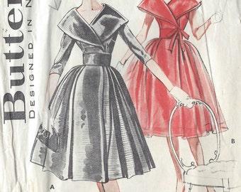 1950s Vintage Sewing Pattern B38 DRESS (1020) Butterick 9100