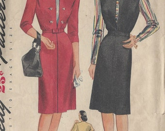 "1944 Vintage Sewing Pattern B30"" DRESS (137)  Simplicity 1213"