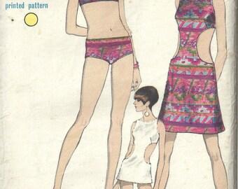 """1968 Vintage VOGUE Sewing Pattern B34"""" Swim Suit & coverup DRESS (1661R)  Vogue 7073"""