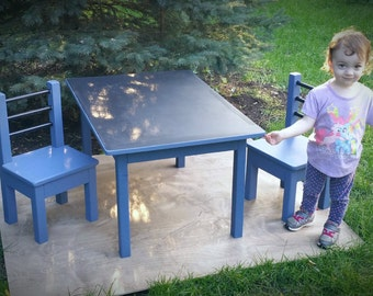 Kids Chalk Board Table and Two Chairs / Table Set / Handmade / Arts and Crafts