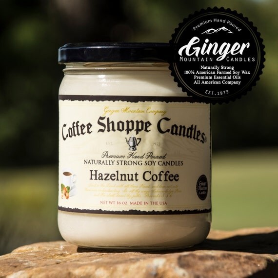 """Hazelnut Coffee Scented Candle """"Free Shipping"""" 16 Ounce Large  """"Strong Highly Scented"""" Double Wicked, Soy, Best Scented candle"""