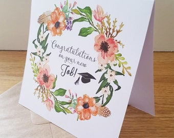 Congratulations on your New Job Floral Wreath Card
