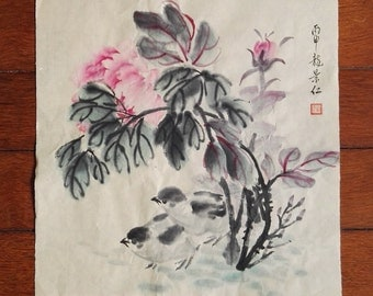 Traditional Chinese Painting, Original Painting, Peony, Chick, Ink & watercolor Painting, Living room, Study Decoration, Flower, Children's
