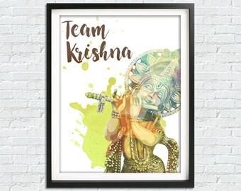 Team Krishna Print, Krishna Poster, Krishna Statue, Hindu Print, Hindu Home Decor, Hindu Wall Art Print, Mantra Print, Krishna Art Print