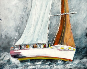 "Marine paint, a sailboat race by sea strong ""heavy weather"""