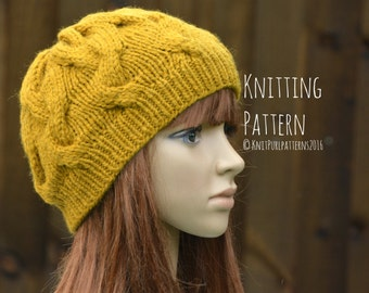 Knitting Pattern PDF Instant Digital Download Womens Beanie Hat Cable Hat Knit It Yourself KPWB02