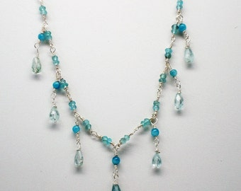 Aquamarine Necklace, Natural Energy, Healing Crystal Jewelry, Sterling Silver, Cooling and Soothing, Blue Necklace