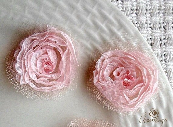 Shabby Chic Pink Tulle Rosettes, Rustic Pink Wedding, Flower Hair Pin, Bridesmaid Hair Accessory, Bridal Flower, Flower Girl Hairclip