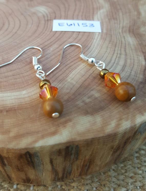 Tan Jasper Earrings / Jasper with Shiny Amber Earrings / Dangle Earrings / Hippie Earrings / Boho Jewelry /E61153