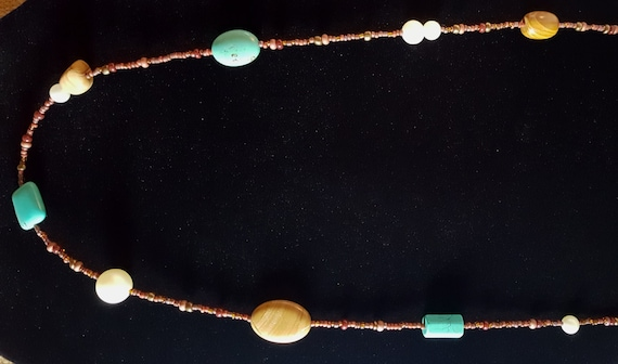 Turquoise Tan Jasper Long Necklace / Pictured Jasper and Turquoise and Pearl Necklace / Hippie Necklace / Boho Jewelry /NS61009