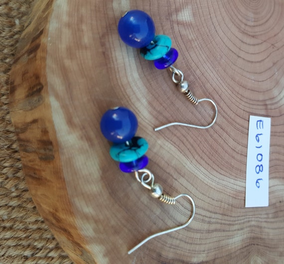 Navy Blue Turquoise Earrings / Turquoise Cobolt Blue Earrings / Dangle Earrings / Hippie Earrings / Boho Jewelry /E61086