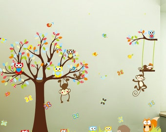 Monkey on Tree Large Kids Nursery Wall Stickers