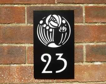 Mackintosh Rose House Number Plaque