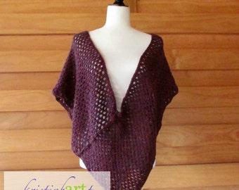 Maroon Confetti Poncho / Deep V Front and Back / Handmade Crochet / Acrylic / Large / X-Large / Multi Color / Stylish / Wrap