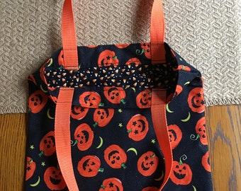 Halloween, Trick or Treat Fabric Bag, Lined Bag, Toddler, Child size Trick or Treat Bag, Pumpkins and Candy Corn; reusable and washable