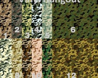Printed Vinyl, Military Camo, Pattern Vinyl,  Adhesive Sticky Craft Vinyl,  HTV Vinyl, and Glitter Vinyl