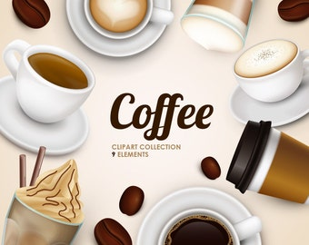 Coffee clip art collection. Cafe clipart. Vector craphic.