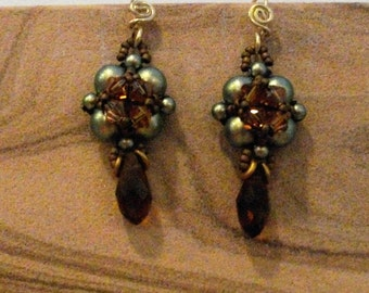Swarovski 6mm Crystal and Pearl Earring with Crystal Dangle