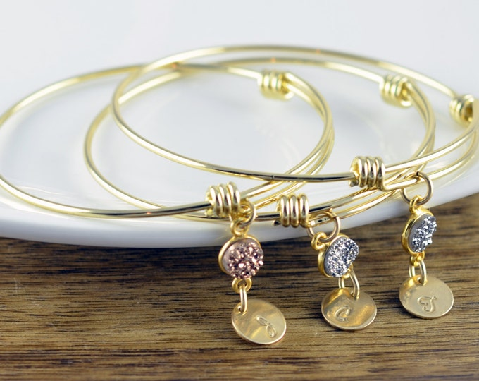 Gold Initial Bracelet - Personalized Initial Bracelet - Personalized Bracelet - Druzy Jewelry - Bridesmaid Gift - Bridesmaid Jewelry