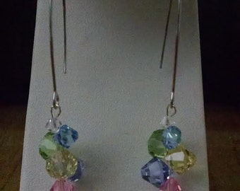 swarovski earring with colorful crystals
