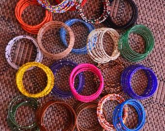 Maasai Beaded Coil Bracelets | African jewelry | Spiral Bracelets | Mixed color beads | Tribal ethnic bracelet | Gift for her |