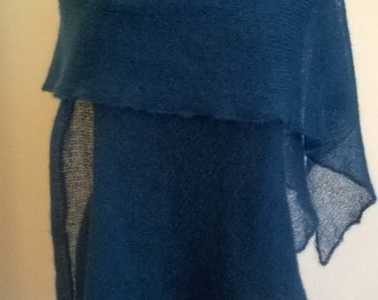 Blue mohair shawl .Light, hand knitted. Large mohair scarf.