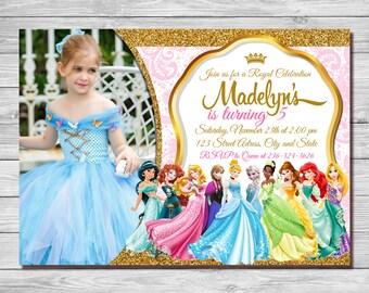 Disney Princess Invitation, Princess Aurora,Princess Bell,Princess Anna Elsa,Princess Arial,Tinker, Jasmine,Sofia,Cinderella| MDI_3