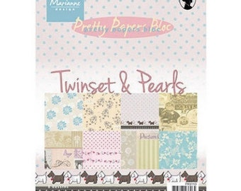 Block of 32 papers 15 x 21 cm Marianne Design TWINSET and PEARLS