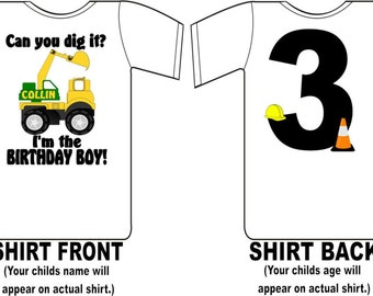 Construction Birthday Shirt Peronalized