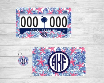 starfish monogram license plate starfish monogram license plate frame starfish monogram key chain lilly pulitzer car frame