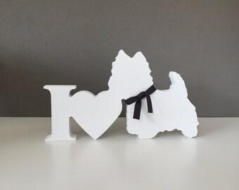 Westie Wooden Dog Ornament, Dog Sign, I Love Dogs Sign, Wooden Dog Ornament, Westie Dog, Birthday Gift, Memory keepsake, Mothers Day Westie