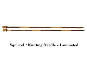 "Squirrel 10"" Long Laminated Wood Round Single Point Knitting Needle"