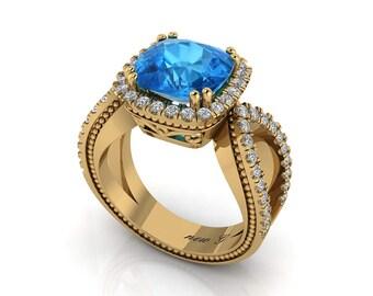 Love In Full Bloom 1.00 CT. TW. White Sapphire 14K Gold Engagement Ring