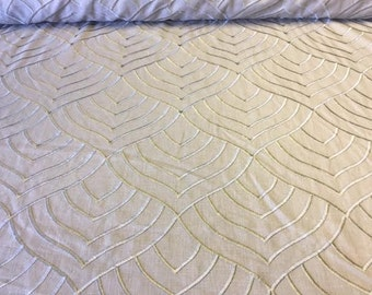 Graystone / Taupe Rayon Cotton embroidered fabric by the YARD!