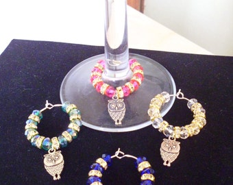 Handmade Rondell Crystal & Owl Wine Glass Charms - any colour