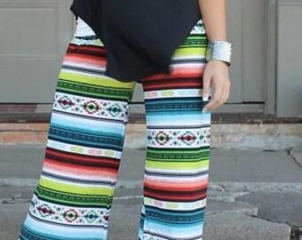 Tribal print pull on pant lace knit womens ladies  small medium largs xlarge plus