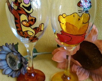 Hand Painted Tigger and Winnie the Pooh Wine Glass Set