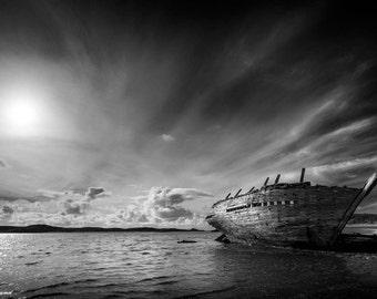 Shipwreck, Donegal, Ireland, sunset, landscape photography, wall art, fine art print, beach, sky, clouds,