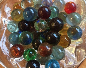 Clear hand blown glass multi colored clear marbles
