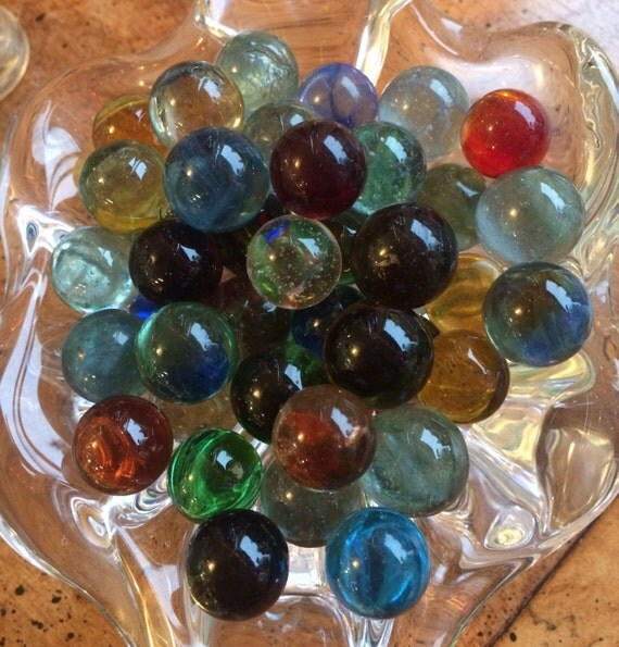 Clear Colored Marbles : Clear hand blown glass multi colored marbles