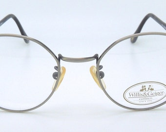 Willis & Geiger Vintage Large Round Style Glasses Frames in Antique Pewter Colour Brand New Vintage Glasses