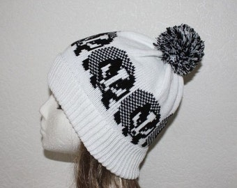 White with Black Badgers beanie hat with pompom