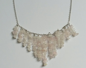 Rose Quartz Waterfall Necklace