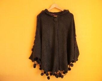 Vintage Women's Kimono- Poncho/ Gray Color Poncho/ Long Sleeve/Hooded/ Woolen  Spring Autumn Poncho/Size M- L