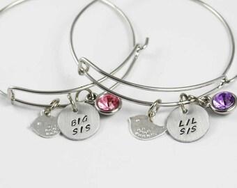 Big Sis Lil Sis bracelet set sister bracelet birtstone mother daughter sister bracelets set of 2 expandable wire bangle