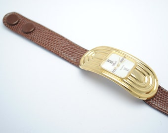 Watch BIJOWIN brown leather - gold watch - wrist watch