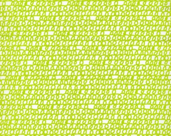 By the Yard, Cloud 9, Organic, Picture Pie, Scribble in Green Cotton - Yard Cut