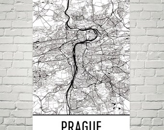 Prague Print, Prague Czech Republic Map Art Poster, Prague Wall Art, Prague Gift, Prague Print, Map of Prague, Birthday, Modern, Art