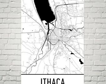 Ithaca NY Map, Ithaca Art, Ithaca Print, Ithaca NY Poster, Ithaca Wall Art, Ithaca Gift, Map of Ithaca, Ithaca Decor, Ithaca Art Print