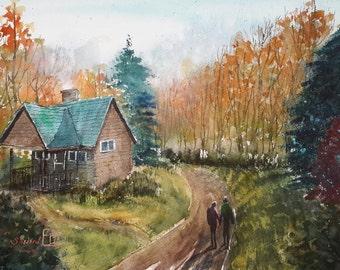 """Original watercolour autumn landscape """"Invitation"""""""